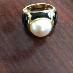 14 karat gold my baby pearl ring with enamel